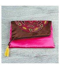 silk clutch, 'mahogany mandala' (mexico)