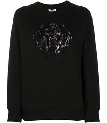 kenzo tiger beaded sweatshirt - black