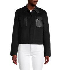 theory women's wool, cashmere & leather trucker jacket - black - size m
