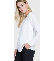 blusa ash lisa doble capa blanco - calce regular