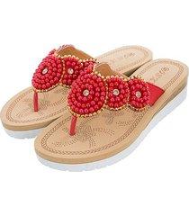 cómodas sandalias de mujer perla casual-rojo