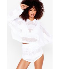 womens holy moly crochet hoodie and shorts lounge set - white