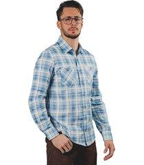 camisa manga larga cowboy a cuadros azul