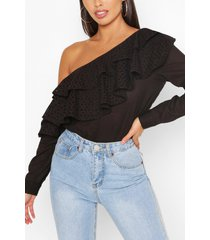 broderie anglaise ruffle one shoulder top, black