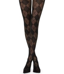 calzedonia - diamond-patterned tights, m/l, black, women