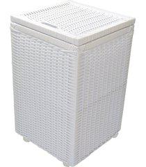 cesto roupa suja roupeiro fibra sintetica junco branco 35x35x57