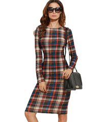 women autumn bodycon multicolor plaid long sleeve knee length pencil dress