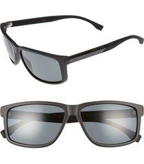 men's boss 60mm polarized sunglasses - matte black carbon