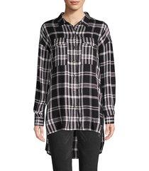 jak & rae women's plaid long-sleeve button-down shirt - black plaid - size xs