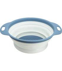 escorredor para alimentos retrátil pequeno cinza claro com azul - oikos
