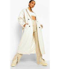 nepwollen trench coat met ceintuur en zoom detail, ecru