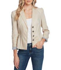 women's cece peplum linen jacket, size 10 - beige