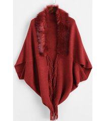 fur trim fringed open cape cardigan