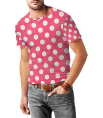 polka dots on hot pink mens cotton blend t-shirt