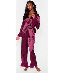 womens you've made your bed satin pajama pants set - plum