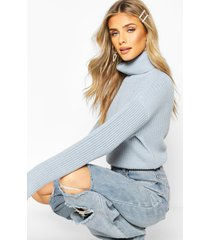 cropped fisherman roll neck sweater, pastel blue