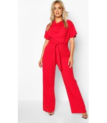 plus cowl neck belted wide leg jumpsuit, red