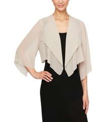 women's alex evenings hanky bolero cardigan, size small - beige