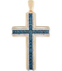 men's blue & white diamond cross pendant (1 ct. t.w.) in 14k gold