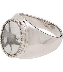o thongthai howlite signet ring - silver