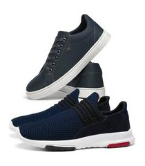 kit tênis caminhada esporte sneakers marinho + sapatenis skateboard casual leve azul