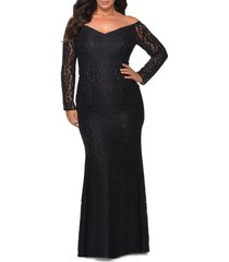 plus size women's la femme long sleeve lace trumpet gown, size 22w - black