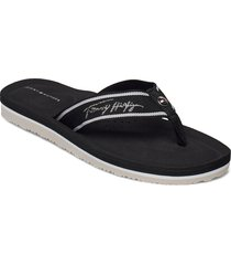 comfort footbed beach sandal shoes summer shoes flat sandals svart tommy hilfiger