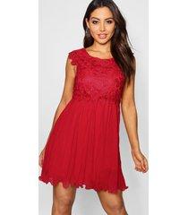 boutique geplooide gewoven kanten skater jurk, berry