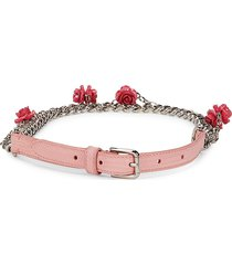 dolce & gabbana women's floral leather belt - pink - size s