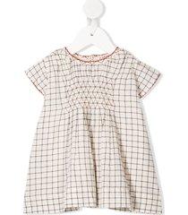 caramel clapham grid-print dress - neutrals