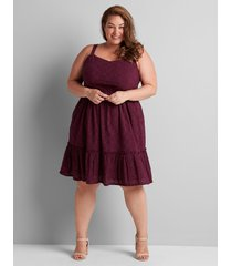 lane bryant women's eyelet fit & flare dress 22 pickled beet