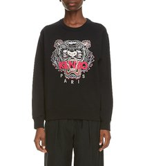 women's kenzo tiger embroidered sweatshirt, size x-small - black