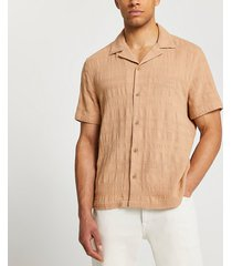 river island mens beige textured short sleeve revere shirt