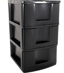 gaveteiro de chão plástico são bernardo preto com 3 gavetas 33x38x56cm
