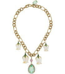 dolce & gabbana short chain flower necklace - gold