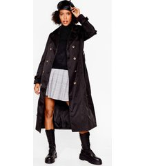 womens belted longline trench coat - black