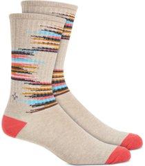 sun + stone men's gray broken stripe socks