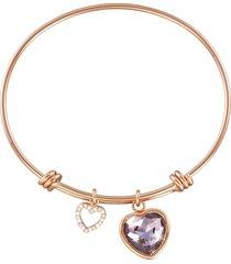 bracciale bangle cuore in metallo rosato e pietre colore per donna