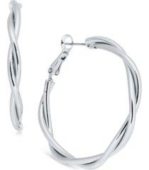 "charter club silver-tone medium double-row twisted hoop earrings, 1.59"", created for macy's"