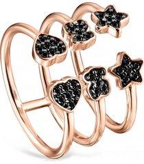 anillo abierto motif plata vermeil rosa tous