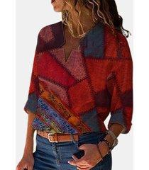 camicetta asimmetrica a maniche lunghe stampata etnica per donna