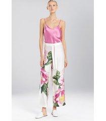 clair de lune pants pajamas, women's, white, 100% silk, size xl, josie natori