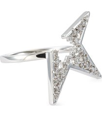 'abstract star' diamond 18k white gold ring