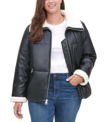 levi's trendy plus size sherpa-trimmed faux-leather puffer jacket