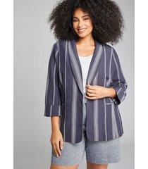 lane bryant women's striped shawl-collar blazer 14 navy majestic stripe