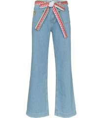 mira mikati woven belt wide-leg jeans - blue