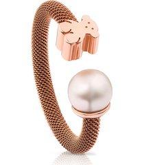 anillo icon mesh de acero y plata vermeil rosa con perla 613105520