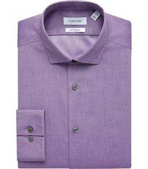 calvin klein men's purple dot slim fit dress shirt - size: 22 38/39