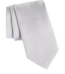 men's david donahue stripe silk tie, size regular - grey