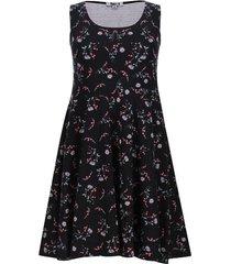 vestido manga sisa estampado flores color negro, talla s